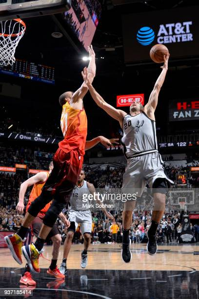 Manu Ginobili of the San Antonio Spurs shoots the ball against the Utah Jazz on March 23 2018 at the ATT Center in San Antonio Texas NOTE TO USER...