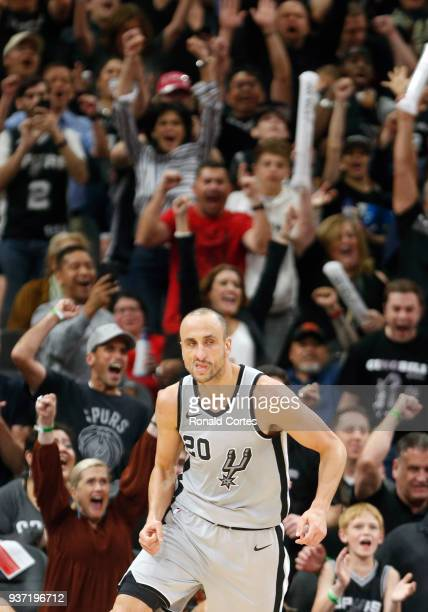 Manu Ginobili of the San Antonio Spurs stone face after scoring a crucial basket against the Utah Jazz at ATT Center on March 23 2018 in San Antonio...