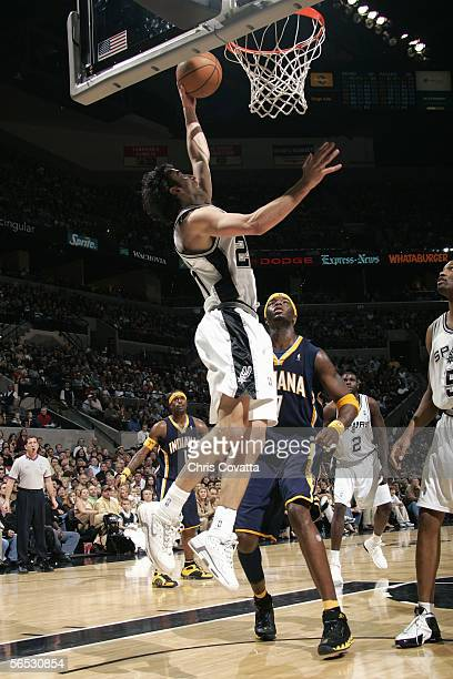 Manu Ginobili of the San Antonio Spurs takes the ball to the basket during the game against the Indiana Pacers on December 27 2005 at the SBC Center...