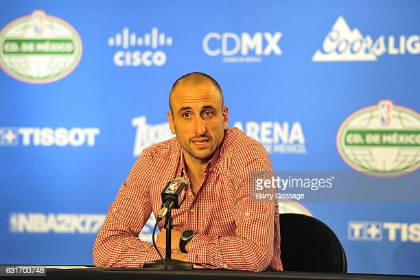 Manu Ginobili of the San Antonio Spurs talks to the media during a press conference after the game against the Phoenix Suns as part of NBA Global...