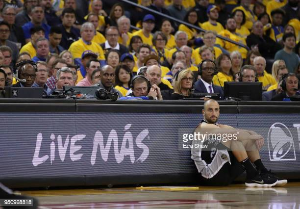 Manu Ginobili of the San Antonio Spurs waits to check in to the game during Game Five against the Golden State Warriors of Round One of the 2018 NBA...