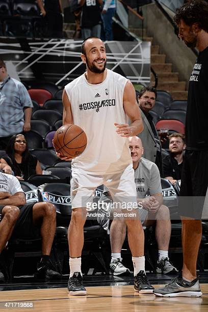Manu Ginobili of the San Antonio Spurs warms up before the game against the Los Angeles Clippers for Game Six of the Western Conference Quarterfinals...