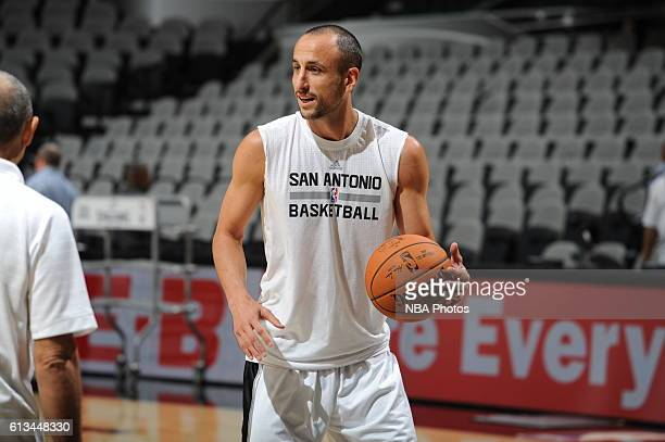 Manu Ginobili of the San Antonio Spurs warms up before the game against the Atlanta Hawks on October 8 2016 at the ATT Center in San Antonio Texas...