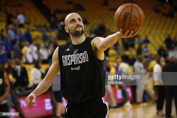 Manu Ginobili of the San Antonio Spurs warms up prior to Game Two of the NBA Western Conference Finals against the Golden State Warriors at ORACLE...