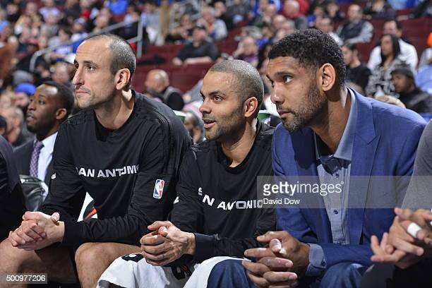 Manu Ginobili Tim Duncan and Tony Parker of the San Antonio Spurs sit on the bench during the game against the Philadelphia 76ers at the Wells Fargo...
