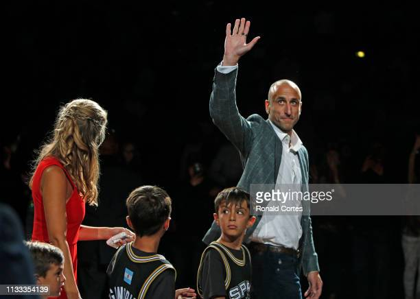 Manu Ginobili waves goodbye to San Antonio Spurs fans after his retirement party at ATT Center on March 28 2019 in San Antonio Texas NOTE TO USER...