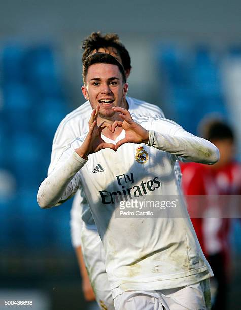 Manu Hernando of Real Madrid celebrates after scoring during the UEFA Youth League match between Real Madrid and Malmo FF at Estadio Alfredo Di...
