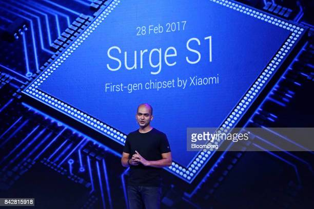 Manu Jain vice president of Xiaomi Corp speaks during the launch of the Mi A1 dual camera device in New Delhi India on Tuesday Sept 5 2017 Google is...