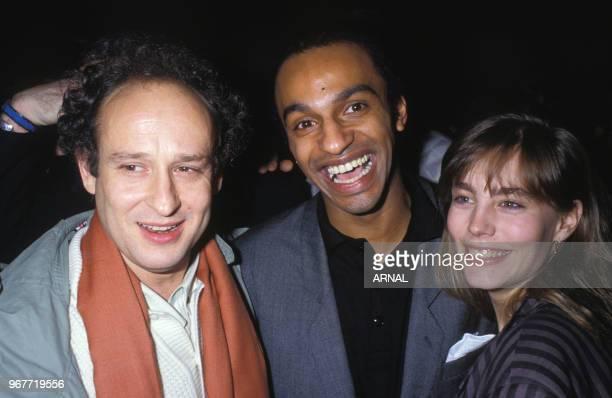 Manu Katché Michel Jonasz et Sophie Duez lors d'une soirée au palace à Paris le 25 mars 1988 France