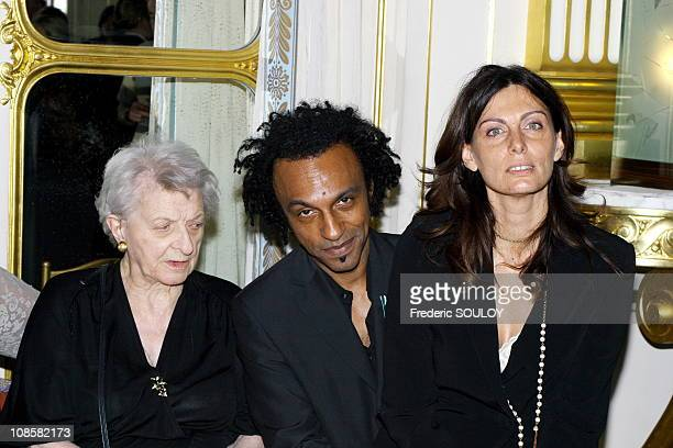 Manu Katche and his grandmother with his wife Laurence in ParisFrance on June 072006
