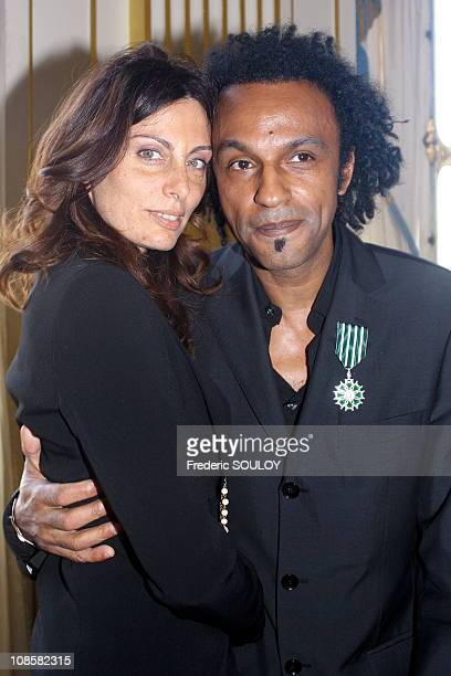 Manu Katche and his wife Laurence in ParisFrance on June 072006