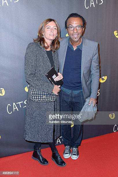 Manu Katche and his wife Laurence Katche attend the 'Cats' photocall at Theatre Mogador on October 1 2015 in Paris France
