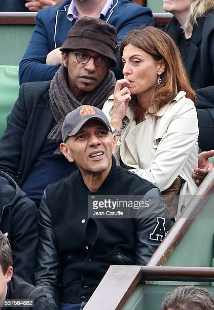 Manu Katche and his wife Laurence Katche below them Roshdy Zem attend day 11 of the 2016 French Open held at RolandGarros stadium on June 1 2016 in...