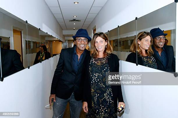Manu Katche with his wife Laurence attend the 'Vivement Dimanche' French TV Show at Pavillon Gabriel on September 29 2015 in Paris France
