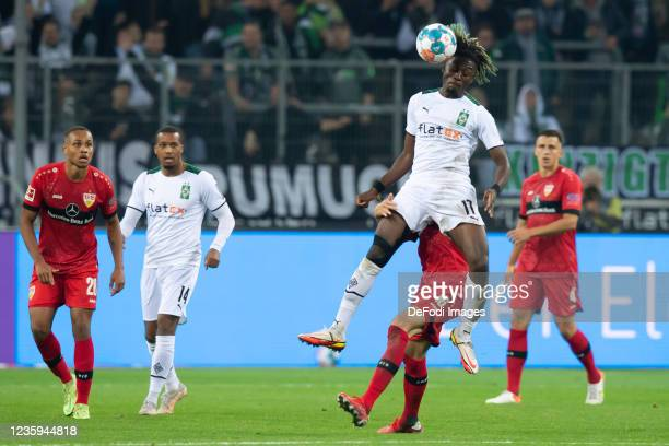 Manu Kone of Borussia Moenchengladbach and Atakan Karazor of VfB Stuttgart battle for the ball during the Bundesliga match between Borussia...