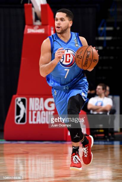 Manu Lecomte of the Agua Caliente Clippers of Ontario brings the ball up the court during the game against the Stockton Kings on January 19 2019 at...