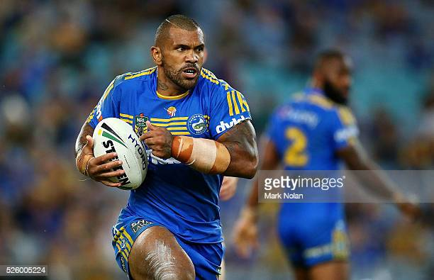 Manu Ma'u of the Eels in action during the round nine NRL match between the Parramatta Eels and the Canterbury Bulldogs at ANZ Stadium on April 29...