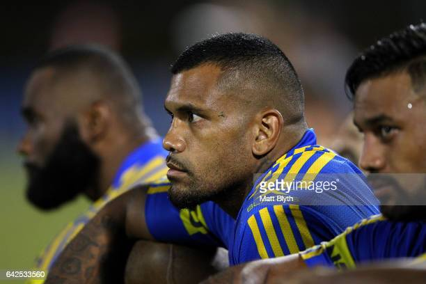 Manu Ma'u of the Eels looks on during the NRL Trial match between the Penrith Panthers and Parramatta Eels at Pepper Stadium on February 18 2017 in...