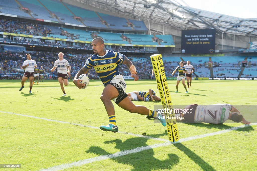 Manu Ma'u of the Eels scores a try during the round seven NRL match between the Parramatta Eels and the Manly Sea Eagles at ANZ Stadium on April 22, 2018 in Sydney, Australia.