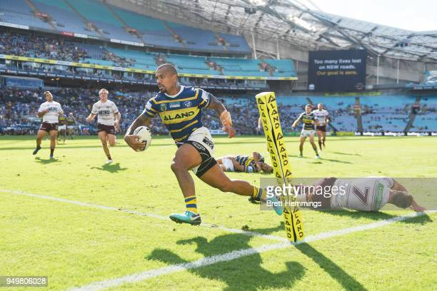 Manu Ma'u of the Eels scores a try during the round seven NRL match between the Parramatta Eels and the Manly Sea Eagles at ANZ Stadium on April 22...