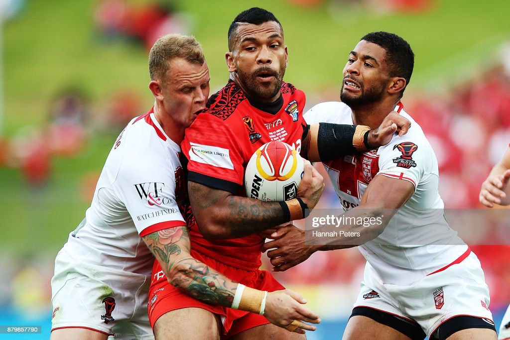 Manu Ma'u of Tonga charges forward during the 2017 Rugby League World Cup Semi Final match between Tonga and England at Mt Smart Stadium on November 25, 2017 in Auckland, New Zealand.