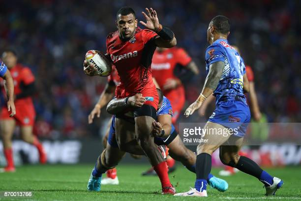 Manu Ma'u of Tonga is tackled during the 2017 Rugby League World Cup match between Samoa and Tonga at Waikato Stadium on November 4 2017 in Hamilton...