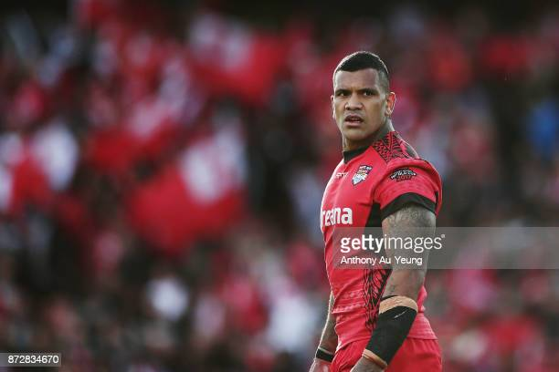 Manu Ma'u of Tonga looks on during the 2017 Rugby League World Cup match between the New Zealand Kiwis and Tonga at Waikato Stadium on November 11...