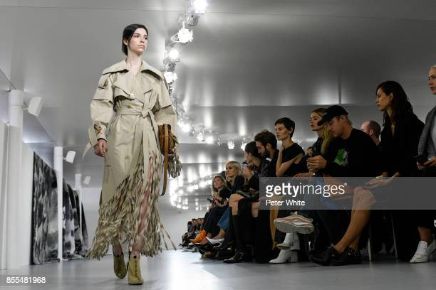 Manu Miloqui walks the runway during the Loewe show as part of the Paris Fashion Week Womenswear Spring/Summer 2018 on September 29 2017 in Paris...