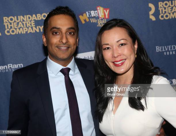 Manu Narayan and Laura Kai Chen pose at the opening night of The Roundabout Theatre Company's production of Stephen Sondheim's musical 'Merrily We...