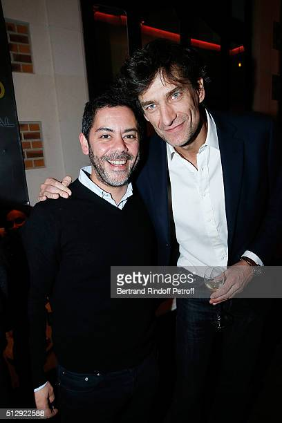 Manu Payet and Nicolas Altmayer attend the Dominique Segall Anniversary Party at Cafe Artcurial on February 28 2016 in Paris France