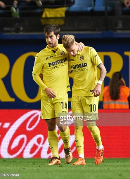 Manu Trigueros and Samu Castillejo celebrates after scoring a goal during the La Liga match between Villarreal CF and Levante Union Deportiva at...