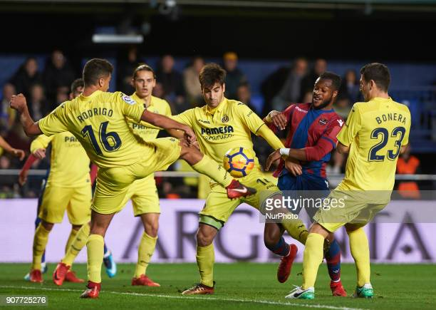 Manu Trigueros of Villarreal CF and Cheick Doukoure of Levante Union Deportiva during the La Liga match between Villarreal CF and Levante Union...