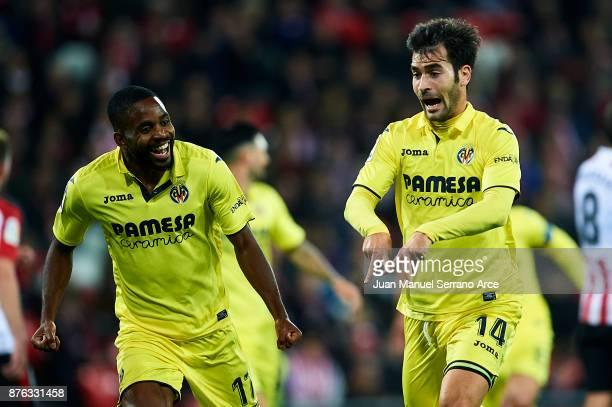Manu Trigueros of Villarreal CF celebrates after scoring goal during the La Liga match between Athletic Club Bilbao and Villarreal CF at San Mames...