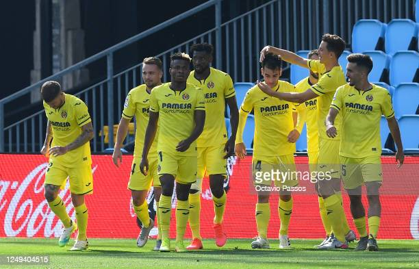 Manu Trigueros of Villarreal is congratulated after scoring the match winning goal during the Liga match between RC Celta de Vigo and Villarreal CF...