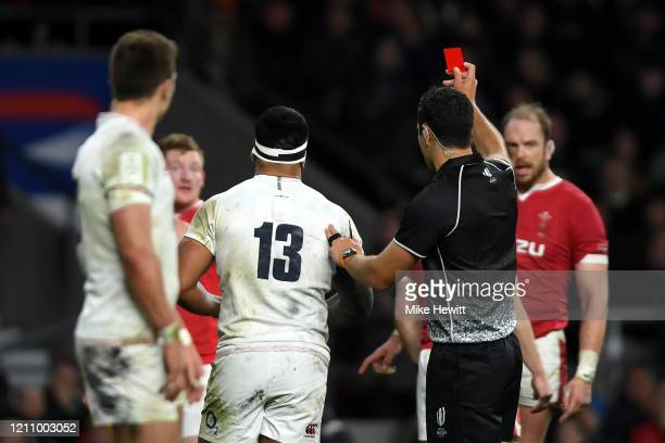 Manu Tuilagi of England is shown a red card from referee Ben O'Keeffe during the 2020 Guinness Six Nations match between England and Wales at...