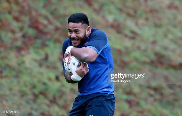 Manu Tuilagi of England looks on during an England training session at Pennyhill Park on February 19, 2020 in Bagshot, England.