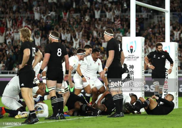 Manu Tuilagi of England scores a try during the Rugby World Cup 2019 SemiFinal match between England and New Zealand at International Stadium...