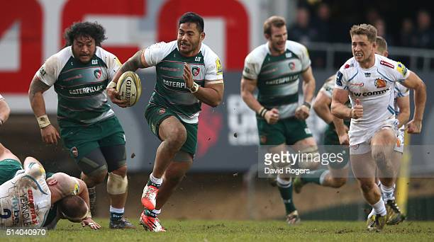 Manu Tuilagi of Leicester breaks with the ball during the Aviva Premiership match between Leicester Tigers and Exeter Chiefs at Welford Road on March...