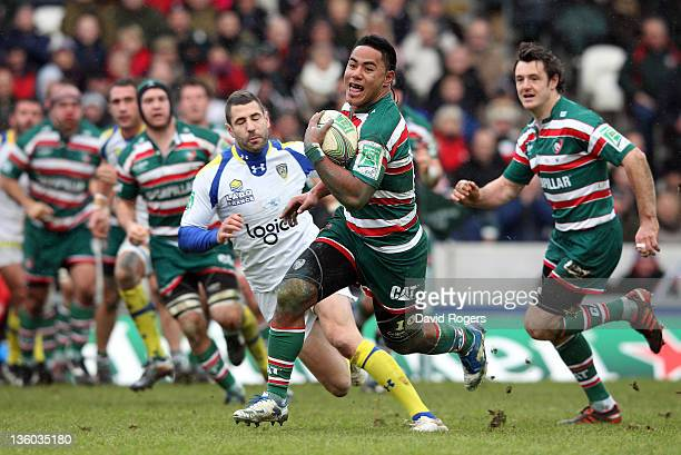 Manu Tuilagi of Leicester breaks with the ball to score the first try during the Heineken Cup match between Leicester Tigers and Clermont Auvergne at...