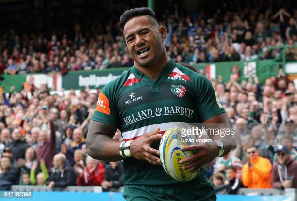 Manu Tuilagi of Leicester celebrates after scoring the first try during the Aviva Premiership match between Leicester Tigers and Bath Rugby at...