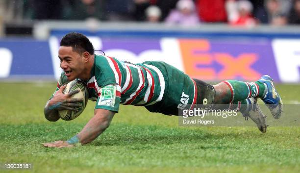 Manu Tuilagi of Leicester dives to score the first try during the Heineken Cup match between Leicester Tigers and Clermont Auvergne at Welford Road...