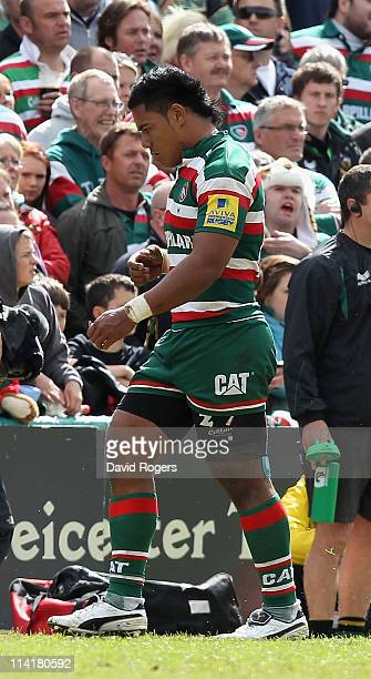 Manu Tuilagi of Leicester is sent to the sin bin after striking Chris Ashton during the Aviva Premiership semi final match between Leicester Tigers...