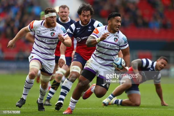 Manu Tuilagi of Leicester on his way to scoring his sides opening try during the Gallagher Premiership Rugby match between Bristol Bears and...