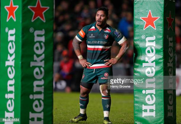 Manu Tuilagi of Leicester Tigers during the European Rugby Champions Cup match between Leicester Tigers and Munster Rugby at Welford Road on December...