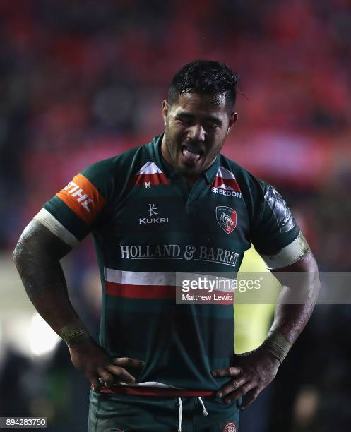 Manu Tuilagi of Leicester Tigers looks oon after his team lost to Munster during the European Rugby Champions Cup match between Leicester Tigers and...