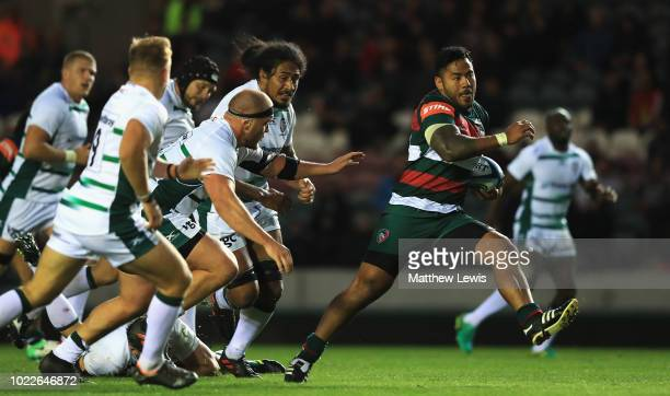 Manu Tuilagi of Leicester Tigers makes a break during a friendly match between Leicester Tigers and London Irish at Welford Road on August 24 2018 in...