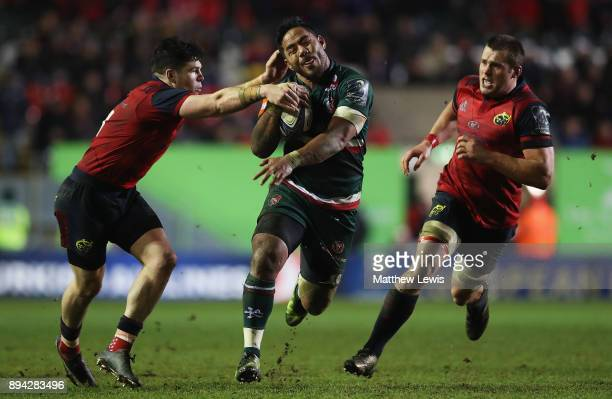 Manu Tuilagi of Leicester Tigers makes a break through the Munster defence during the European Rugby Champions Cup match between Leicester Tigers and...