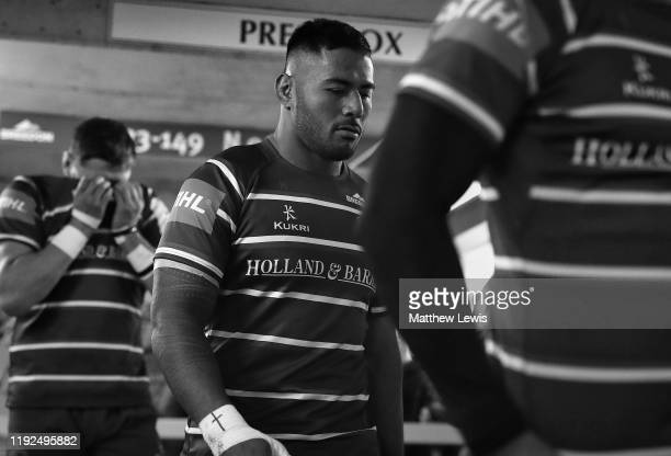 Manu Tuilagi of Leicester Tigers takes to the field ahead of the European Rugby Challenge Cup Round 3 match between Leicester Tigers and Calvisano...