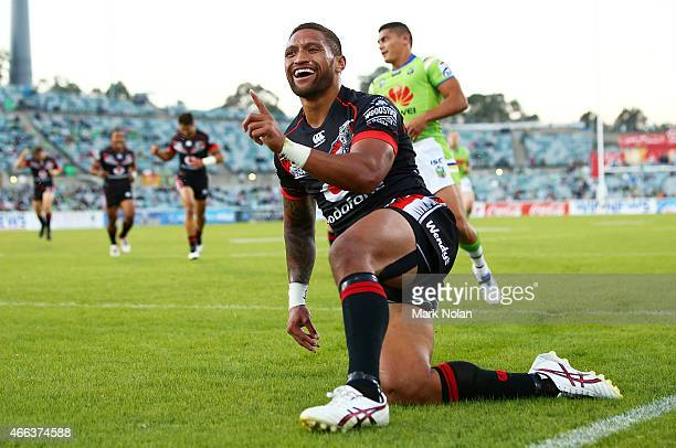 Manu Vatuvei of the Warriors celebrates after scoring a try during the round two NRL match between the Canberra Raiders and the New Zealand Warriors...