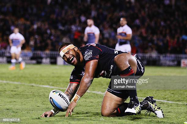 Manu Vatuvei of the Warriors celebrates after scoring a try during the round six NRL match between the New Zealand Warriors and the Wests Tigers at...
